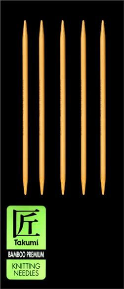 Clover Takumi Bamboo Premium Knitting Needles Double Pt. 7'' US 9 (5.5mm)