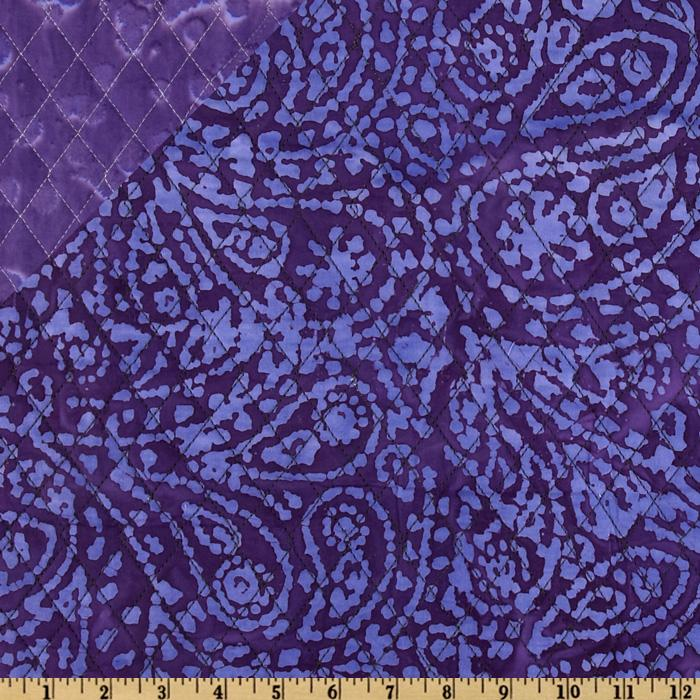 Double Sided Quilted Batik Paisley Purple