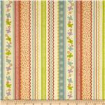 0285442 Backyard Butterflies Ribbon Stripe Orange/Slate Blue