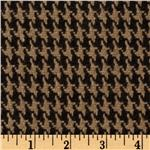 Wool Blend Coating Houndstooth Tan/Brown