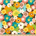 Creatures &amp; Critters Large Flowers Allover Brown