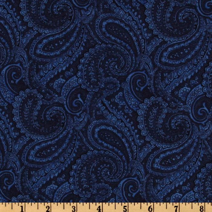 108&#39;&#39; Quilt Backing Complementary Paisley Navy