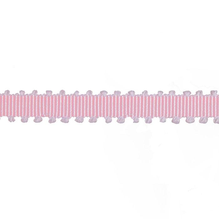 "1/4"" Grosgrain Picot Edge Ribbon Pink/White"