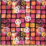 Comfy Flannel Peace Squares Pink