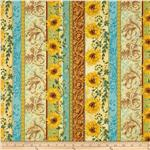 0292230 Tuscan Sunflowers Metallic Border Sunflower Dusty Teal