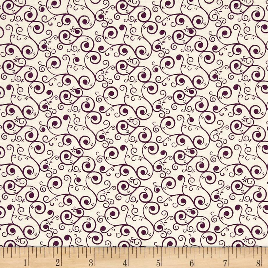 Jasmine Scroll Ecru Purple