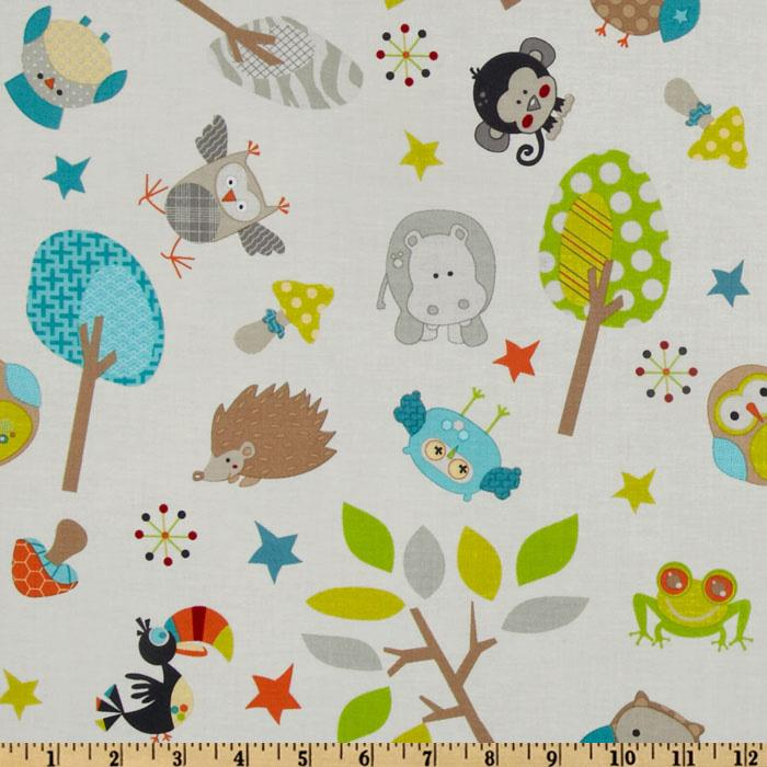 Riley Blake Life In The Jungle Small Animal Toss Grey