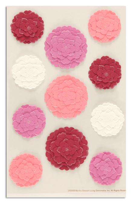 Martha Stewart Crafts Stickers Flowers Pink/White