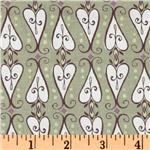 Feather N Stitch Scroll Hearts Olive