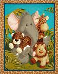FI-404 Jungle Babies Double-Sided Quilted Panel Multi