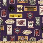 FK-658 Kokka Trefle Cotton/Linen Canvas Notions Labels Purple