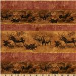 207289 Marblehead Northern Woods Moose Repeating Stripe Brown