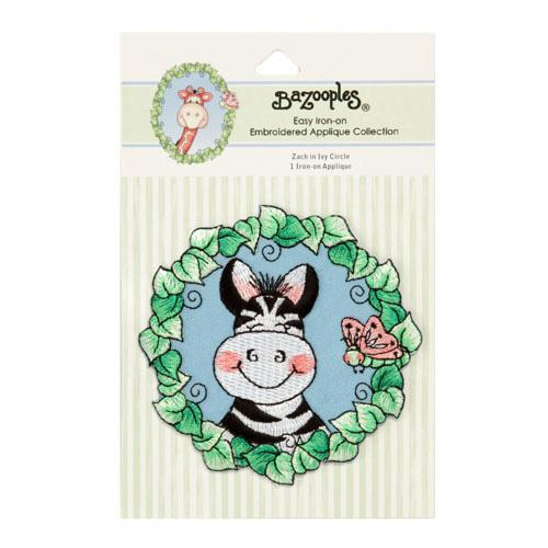 Iron-On Embroidered Applique Bazooples Zach Zebra In Ivy Circle