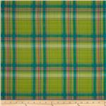 Crinkle Shirting Yarn Dyed Plaid Lime