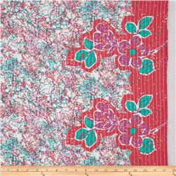 Cotton Lawn Metallic Stripe Floral