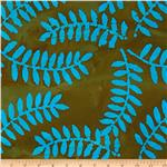 Indian Batik Arcadia Palm Leaf Aqua/Brown