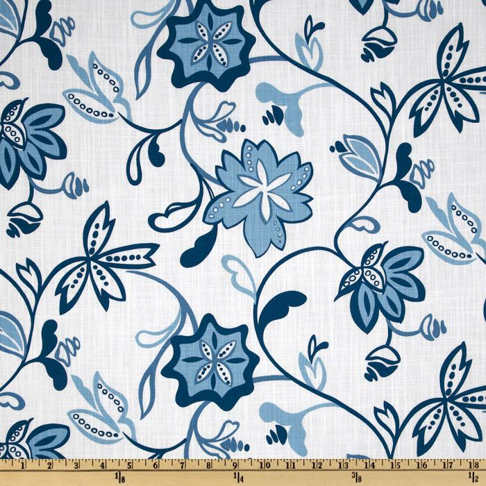Latress Amelia Floral Slub White/Teal Blue
