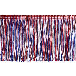 "4"" Metallic Chainette Fringe Trim Red/White/Blue"