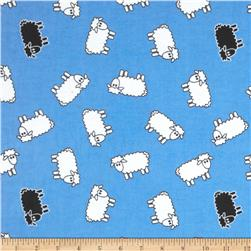 Aunt Polly's Flannel Sheep Blue/White