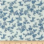0285507 Juliette&#39;s Garden Birds and Blooms Verona Blue