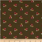 0289132 Country Manor Tossed Small Flowers Brown