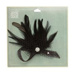 "Angel Wing Feather Brooch With Rhinestone 5"" x 5"" Black"