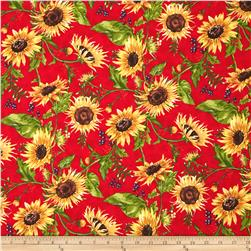 Clothworks Autumn Splendor Sunflowers Red