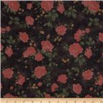 0271036 Maribel Voile Floral Black/Soft Red