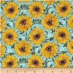 0292234 Tuscan Sunflowers Metallic Sunflower Dusty Teal