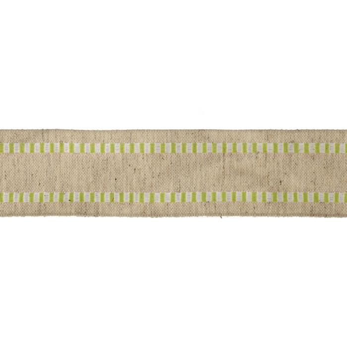 1 1/2'' Wired Natural Burlap Stripe Edge Ribbon Lime/White