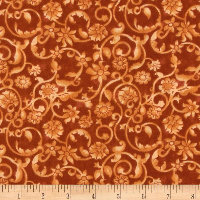 108'' Tonal Scroll Quilt Backing Creamsicle