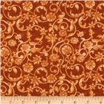 0260987 108'' Tonal Scroll Quilt Backing Quilt Backing Creamsicle