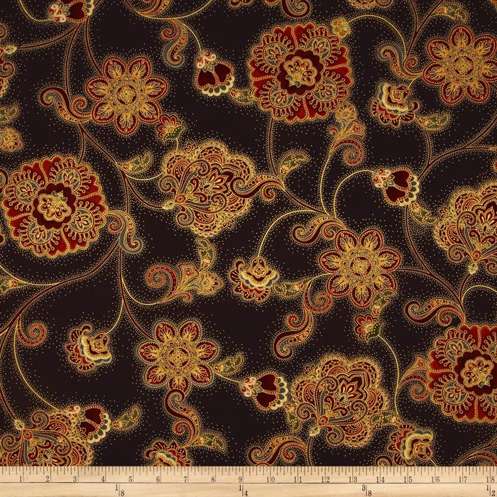 Pashmina Jacobean Floral Brown