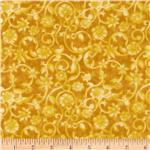 0260990 108&#39;&#39; Tonal Scroll Quilt Backing Quilt Backing Yellow