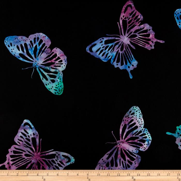 Tonga Batik Painted Lady Large Butterfly Black