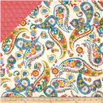 Double Sided Quilted Quilting Bee Paisley On Ecru/Orange