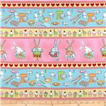 0260168 Timeless Treasures Baking Bunny Stripe Aqua/Yellow
