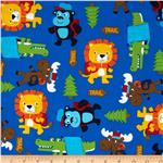 0260832 Timeless Treasures Novelty Camping Critters Blue