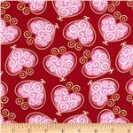 Hugs &amp; Kisses Scroll Hearts Red