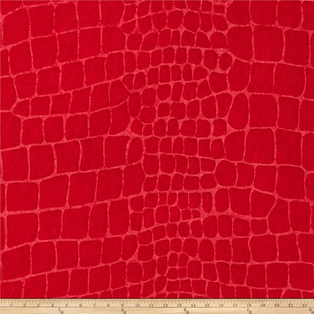 "Embossed Felt Alligator 9"" x 12"" Craft Cut Red"