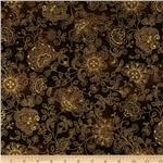 0260156 Pashmina Jacobean Stamped Floral Brown