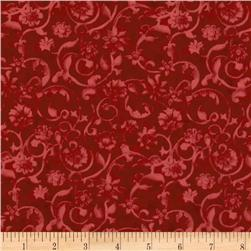 108'' Tonal Scroll Quilt Backing Ruby