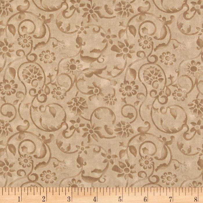 108'' Tonal Scroll Quilt Backing Quilt Backing Taupe