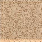 0260994 108'' Tonal Scroll Quilt Backing Quilt Backing Taupe