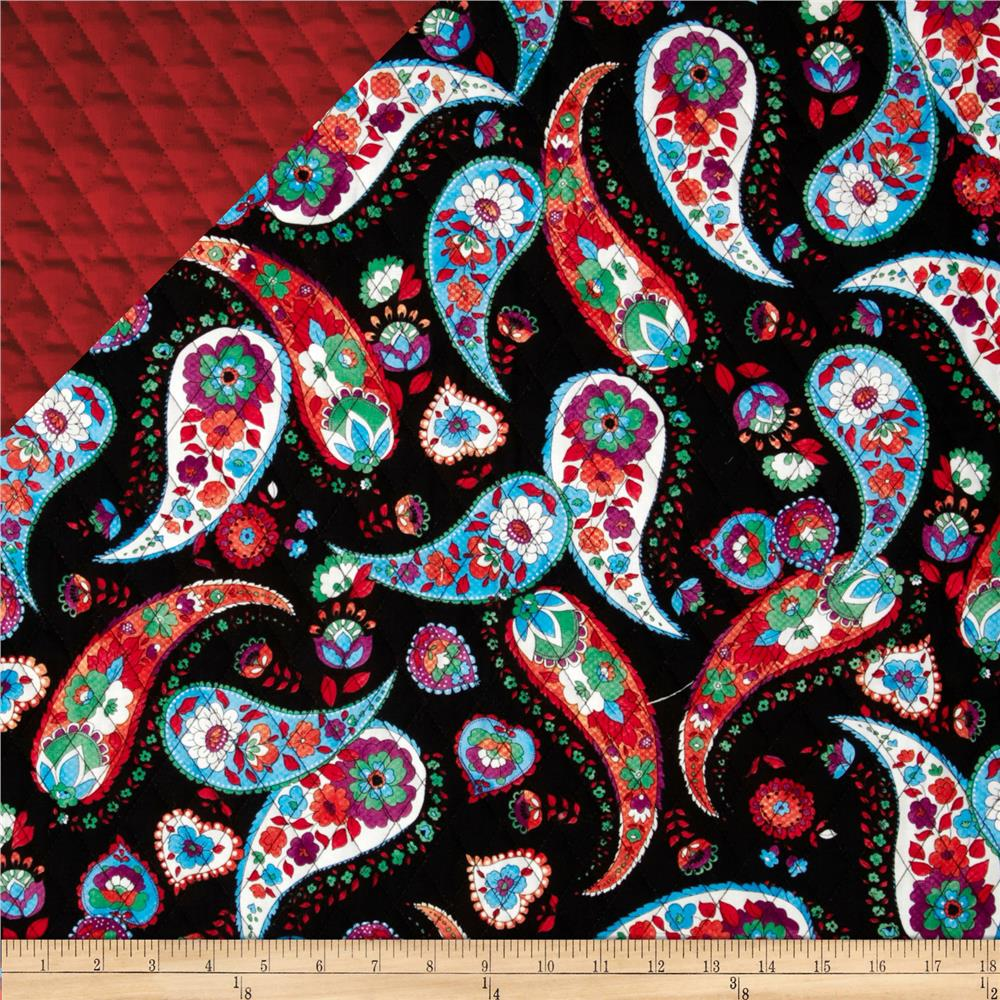 Double Sided Quilted Quilting Bee Paisley on Red/Black