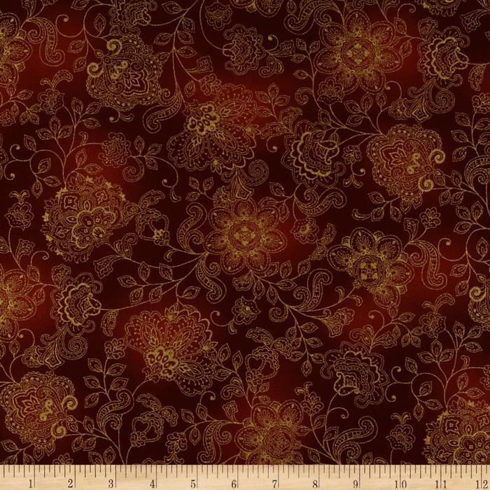 Pashmina Jacobean Stamped Floral Rust