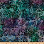 Tonga Batik Painted Lady Butterfly Forest Mystic Blue