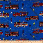 0260127 Timeless Treasures Firetrucks Royal