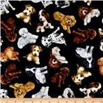 0260134 Timeless Treasures Puppies Black