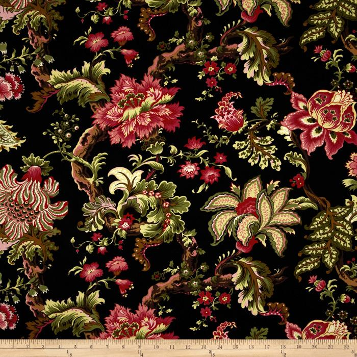 English Lane Large Floral Black/Red